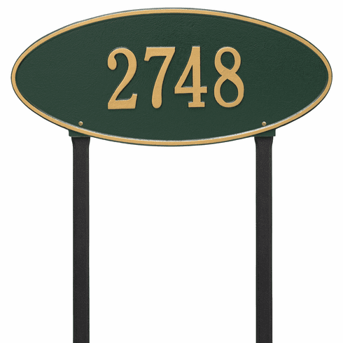 Madison Oval Estate Lawn One Line Plaque in Green and Gold