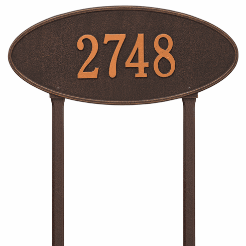 Madison Oval Estate Lawn One Line Plaque in Oil Rubbed Bronze
