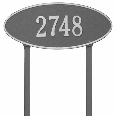 Madison Oval Estate Lawn One Line Plaque in Pewter and Silver