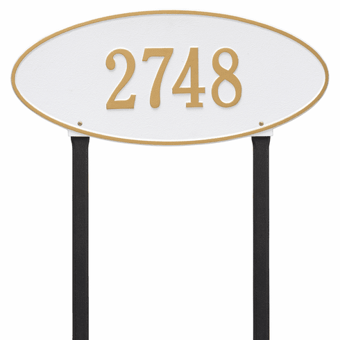 Madison Oval Estate Lawn One Line Plaque in White and Gold