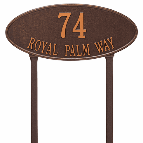 Madison Oval Estate Lawn Two Line Plaque in Antique Copper