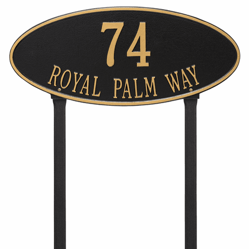 Madison Oval Estate Lawn Two Line Plaque in Black and Gold