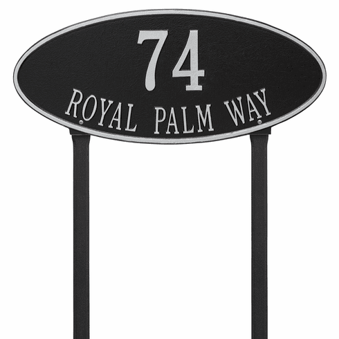 Madison Oval Estate Lawn Two Line Plaque in Black and Silver