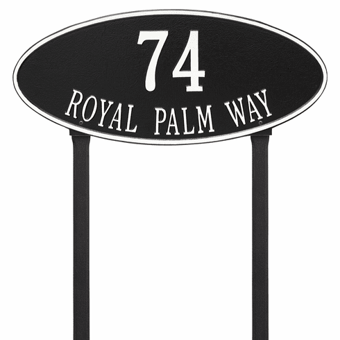 Madison Oval Estate Lawn Two Line Plaque in Black and White