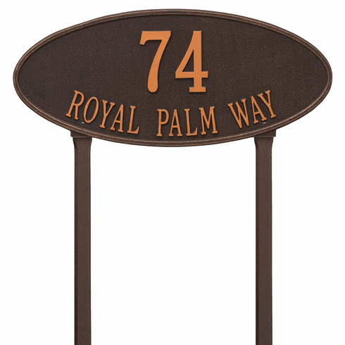 Madison Oval Estate Lawn Two Line Plaque in Oil Rubbed Bronze