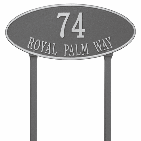 Madison Oval Estate Lawn Two Line Plaque in Pewter and Silver