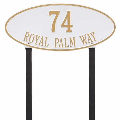 Madison Oval Estate Lawn Two Line Plaque in White and Gold