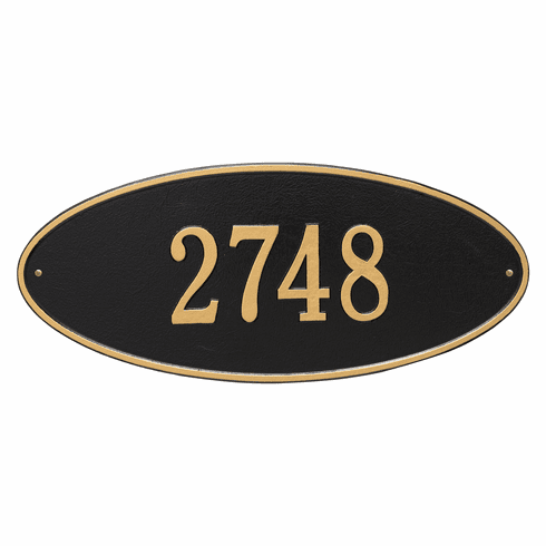 Madison Oval Estate Wall One Line Plaque in Black and Gold