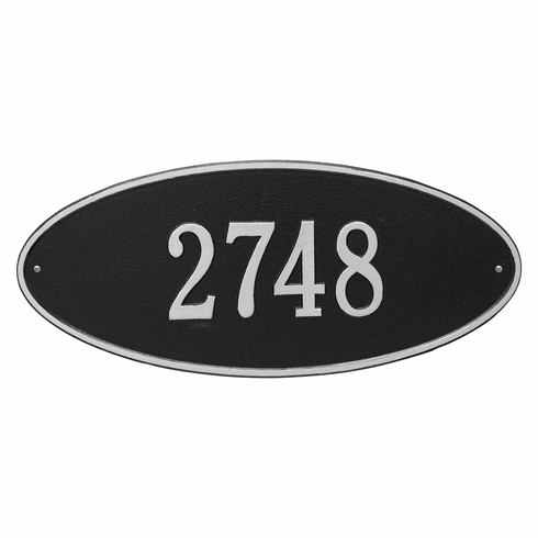 Madison Oval Estate Wall One Line Plaque in Black and Silver