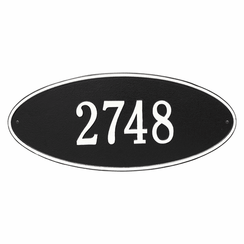 Madison Oval Estate Wall One Line Plaque in Black and White