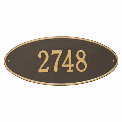 Madison Oval Estate Wall One Line Plaque in Bronze and Gold