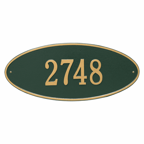 Madison Oval Estate Wall One Line Plaque in Green and Gold