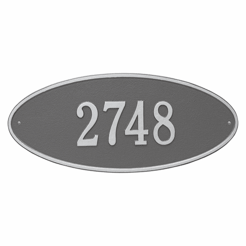 Madison Oval Estate Wall One Line Plaque in Pewter and Silver