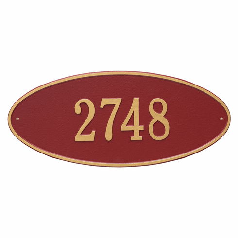 Madison Oval Estate Wall One Line Plaque in Red and Gold