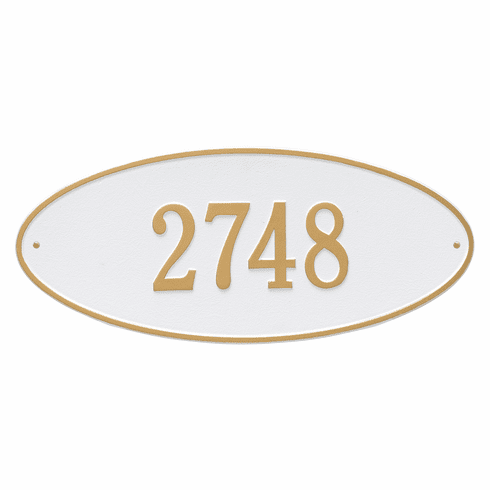 Madison Oval Estate Wall One Line Plaque in White and Gold