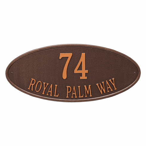 Madison Oval Estate Wall Two Line Plaque in Antique Copper