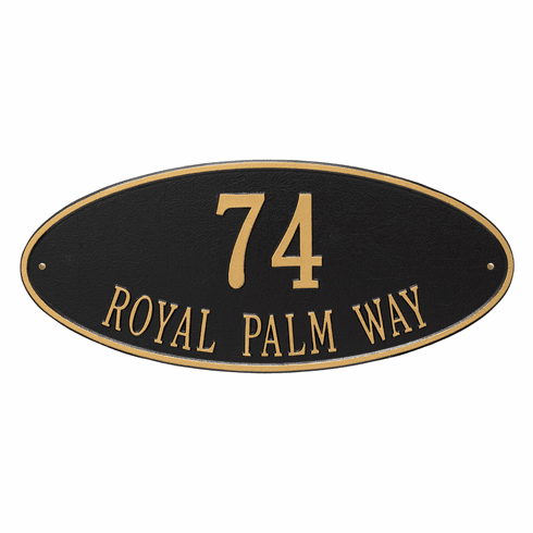Madison Oval Estate Wall Two Line Plaque in Black and Gold