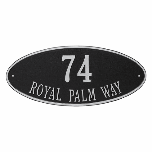 Madison Oval Estate Wall Two Line Plaque in Black and Silver