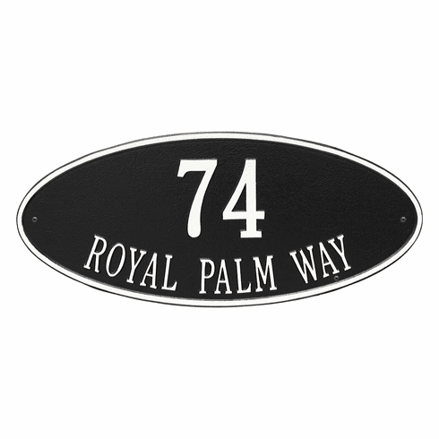 Madison Oval Estate Wall Two Line Plaque in Black and White