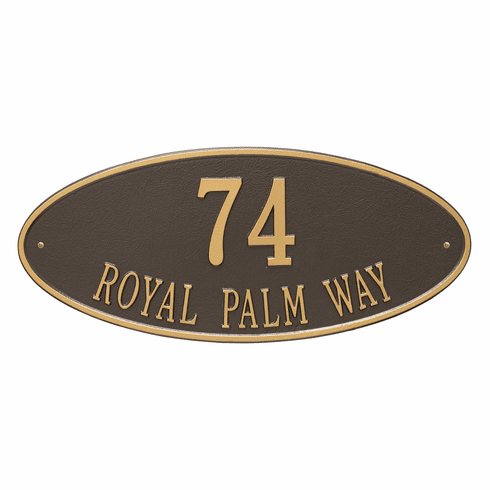 Madison Oval Estate Wall Two Line Plaque in Bronze and Gold