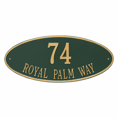 Madison Oval Estate Wall Two Line Plaque in Green and Gold
