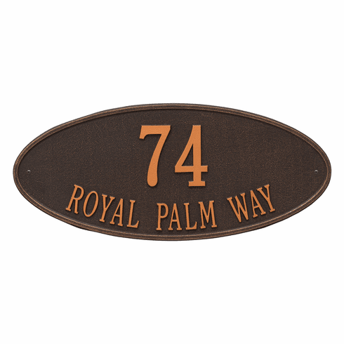 Madison Oval Estate Wall Two Line Plaque in Oil Rubbed Bronze