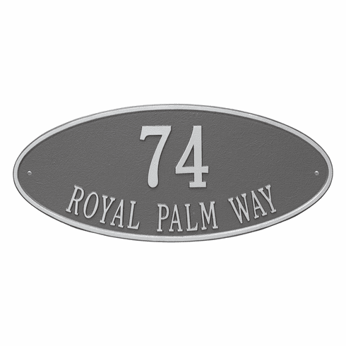 Madison Oval Estate Wall Two Line Plaque in Pewter and Silver
