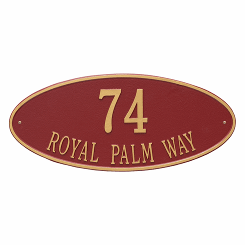 Madison Oval Estate Wall Two Line Plaque in Red and Gold