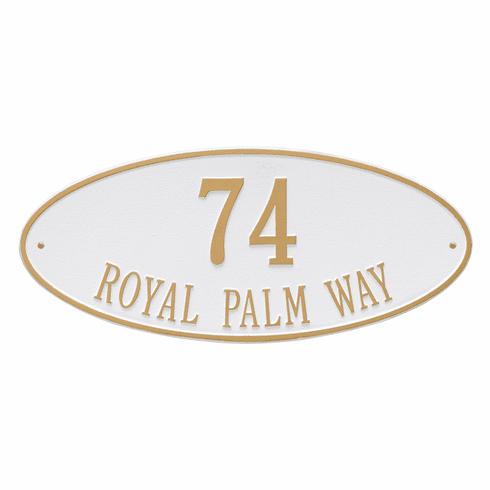 Madison Oval Estate Wall Two Line Plaque in White and Gold