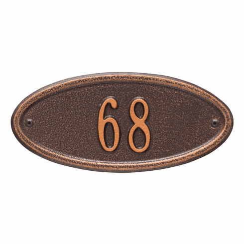 Madison Oval Petite Wall One Line Plaque in Antique Copper