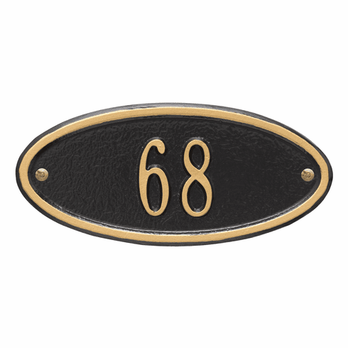 Madison Oval Petite Wall One Line Plaque in Black and Gold