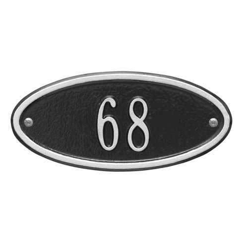 Madison Oval Petite Wall One Line Plaque in Black and Silver