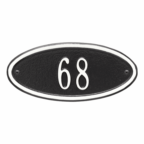 Madison Oval Petite Wall One Line Plaque in Black and White