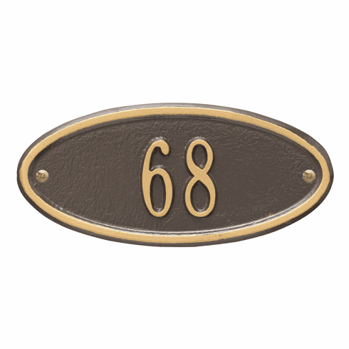 Madison Oval Petite Wall One Line Plaque in Bronze and Gold