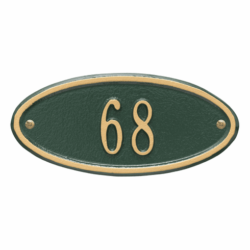 Madison Oval Petite Wall One Line Plaque in Green and Gold