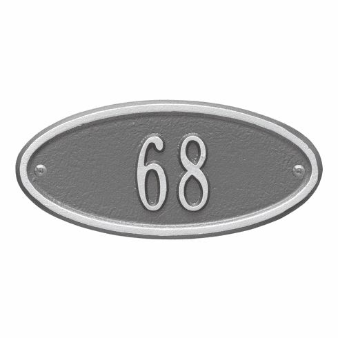 Madison Oval Petite Wall One Line Plaque in Pewter and Silver