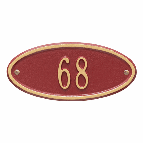 Madison Oval Petite Wall One Line Plaque in Red and Gold