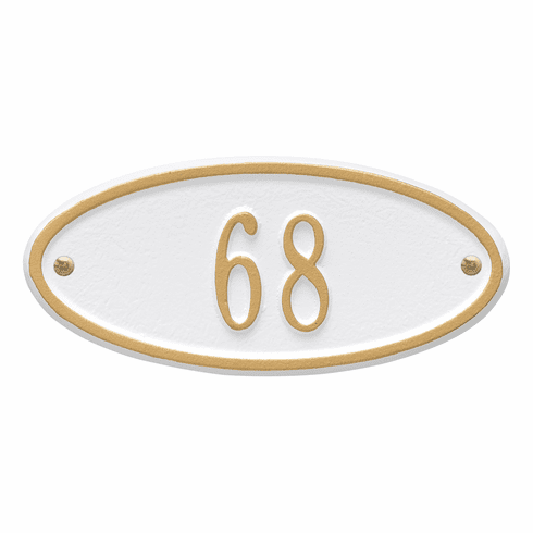 Madison Oval Petite Wall One Line Plaque in White and Gold