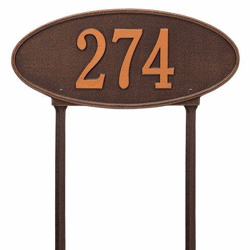 Madison Oval Standard Lawn One Line Plaque in Antique Copper