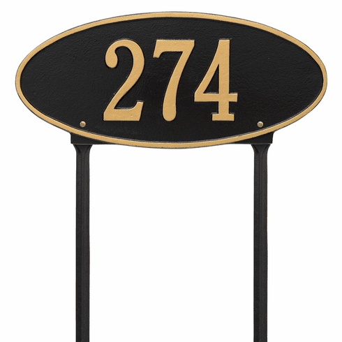 Madison Oval Standard Lawn One Line Plaque in Black and Gold