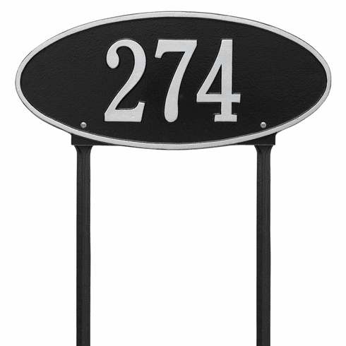 Madison Oval Standard Lawn One Line Plaque in Black and Silver