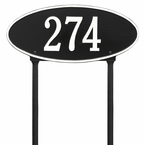 Madison Oval Standard Lawn One Line Plaque in Black and White