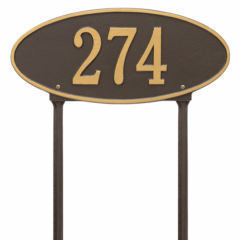 Madison Oval Standard Lawn One Line Plaque in Bronze and Gold