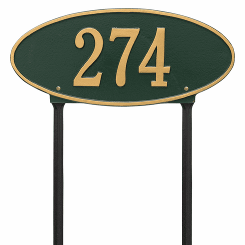 Madison Oval Standard Lawn One Line Plaque in Green and Gold