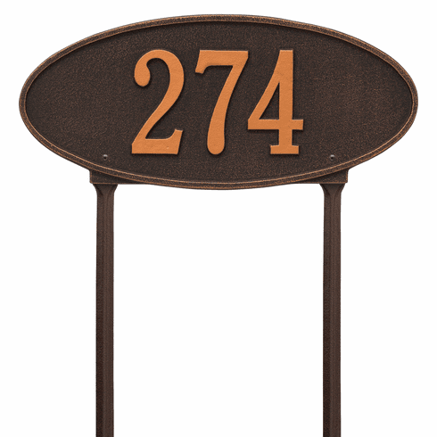 Madison Oval Standard Lawn One Line Plaque in Oil Rubbed Bronze
