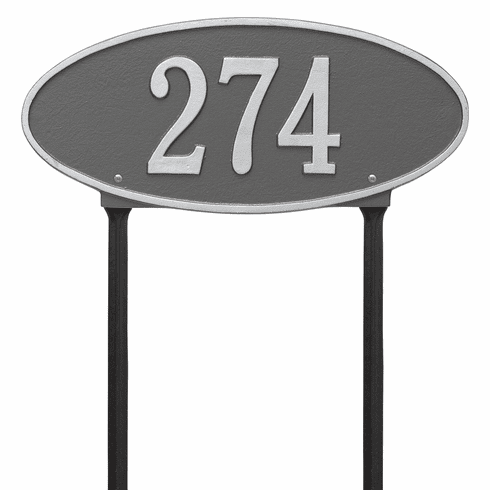 Madison Oval Standard Lawn One Line Plaque in Pewter and Silver