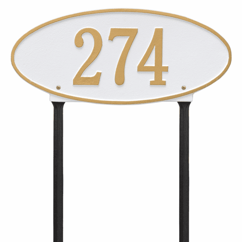 Madison Oval Standard Lawn One Line Plaque in White and Gold