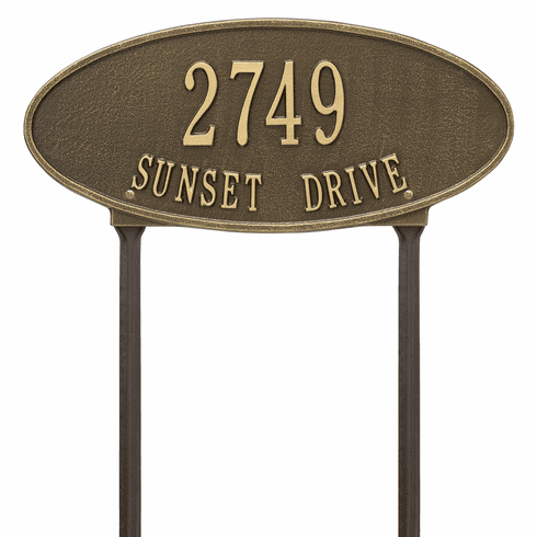 Madison Oval Standard Lawn Two Line Plaque in Antique Brass