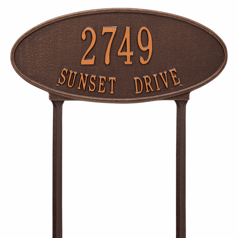 Madison Oval Standard Lawn Two Line Plaque in Antique Copper