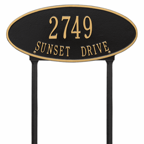 Madison Oval Standard Lawn Two Line Plaque in Black and Gold